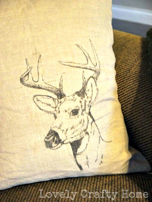 DIY stag head pillow cover