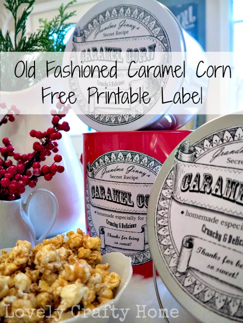 free printable label caramel corn