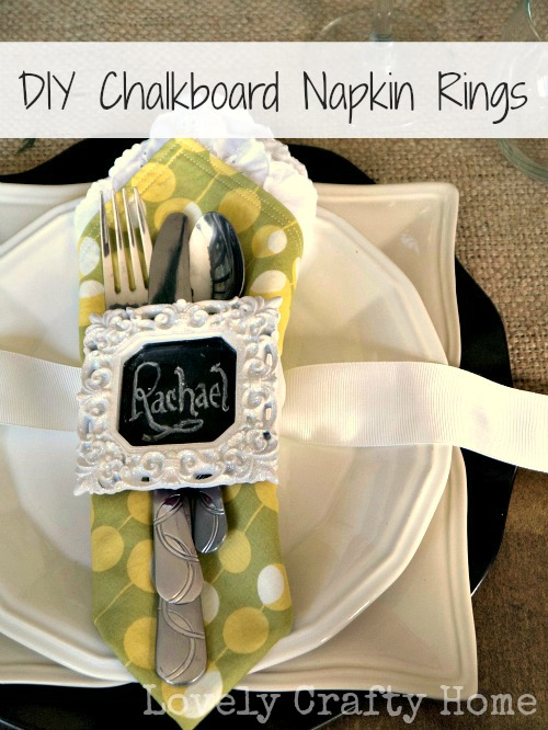 mini chalkboard placecard napkin ring