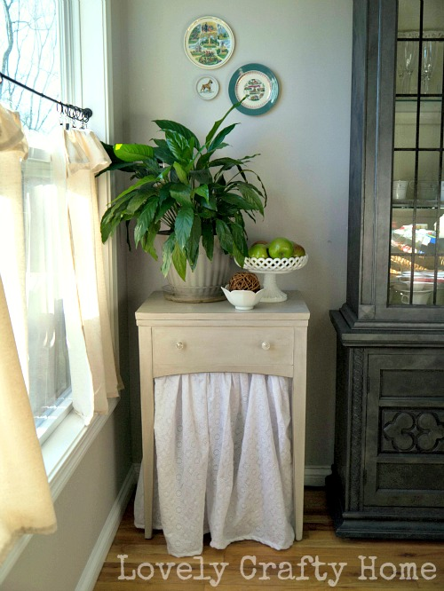use a table skirt to add storage
