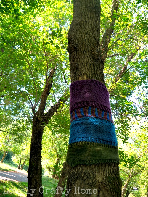 yarn bombing a tree